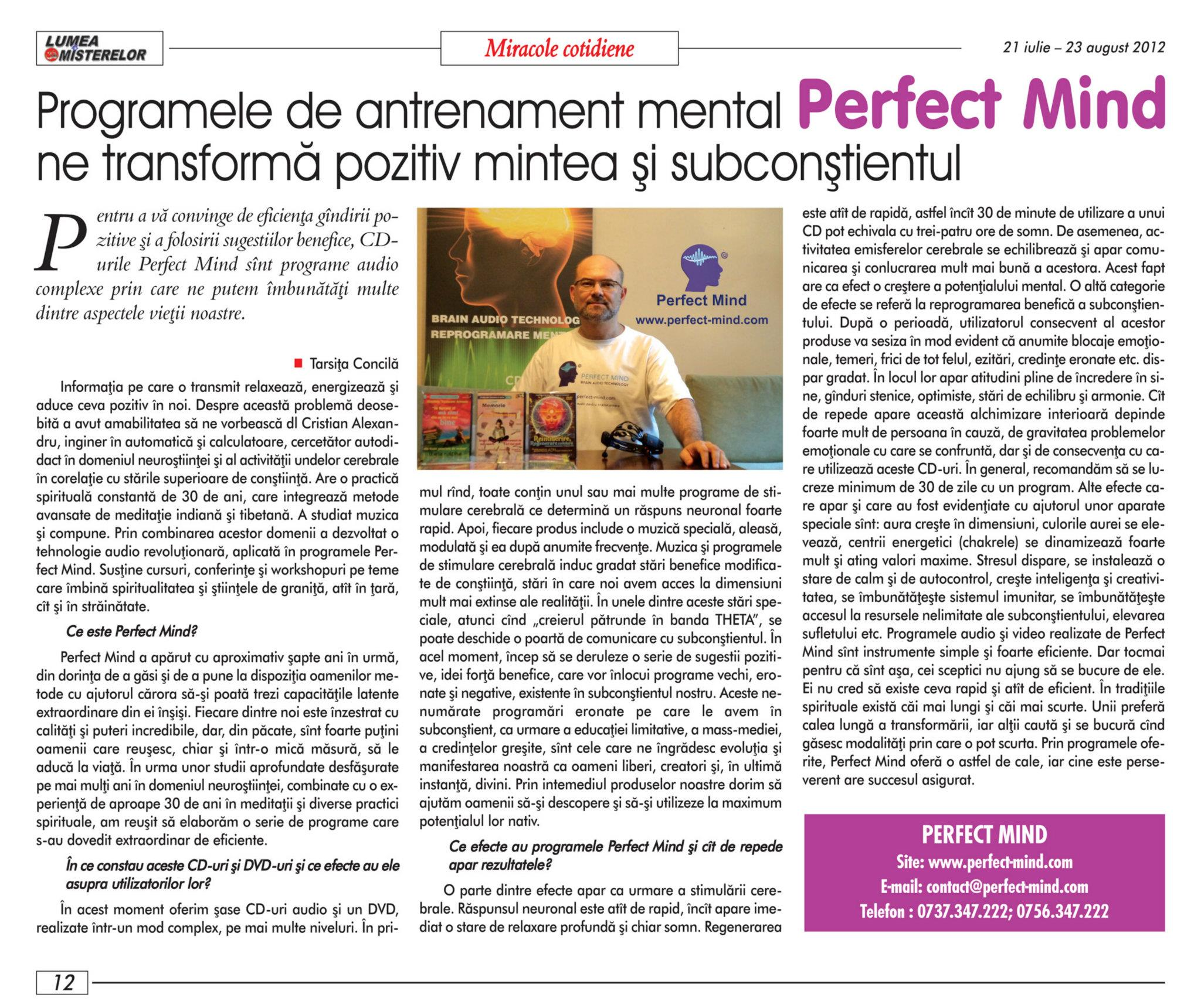 Perfect Mind in Revista Misterelor